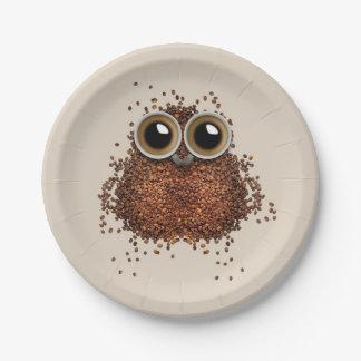 Placas de papel da coruja do café prato de papel