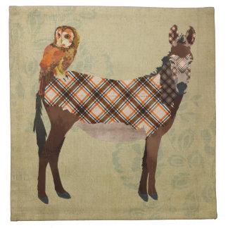 Plaid Donkey & Gold Owl Napkin