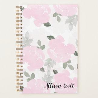 Planejador anual personalizado floral Pastel