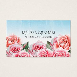Planejador cor-de-rosa do casamento do céu cartão de visitas