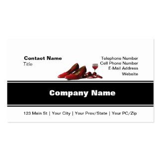 Planejador de evento (calçados e vinho vermelhos) cartão de visita