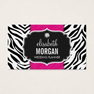 Planejador do casamento - rosa quente do impressão cartão de visitas