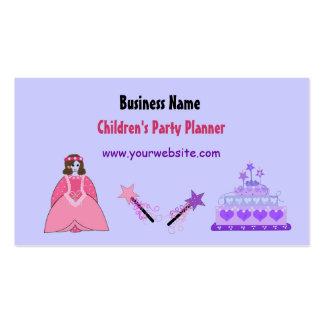Planejador do partido das crianças da princesa e cartão de visita