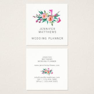 Planejador floral do casamento da aguarela cartão de visitas quadrado