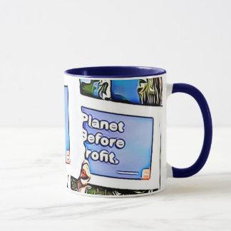 Planeta antes do lucro março para a caneca de café