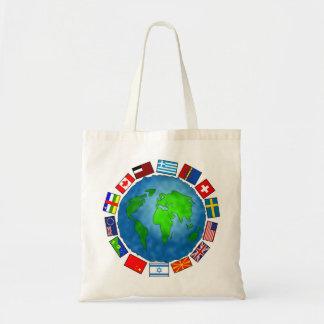 Planeta da bandeira sacola tote budget