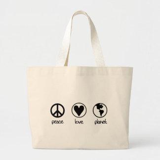 Planeta do amor da paz - saco bolsa tote grande