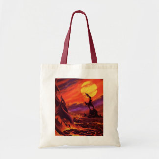 Planeta vermelho do vulcão da lava da ficção sacola tote budget
