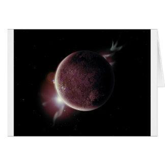 planeta vermelho no universo com aura e estrelas cartão