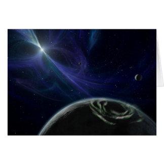 Planetas com estrela Pulsor em Notecard Cartão
