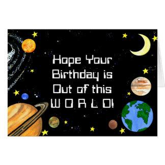 Planetas e espaço felizes cartão