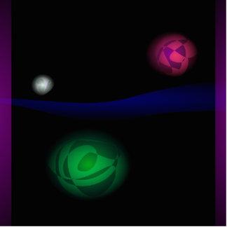 Planetas e um cometa fotoescultura