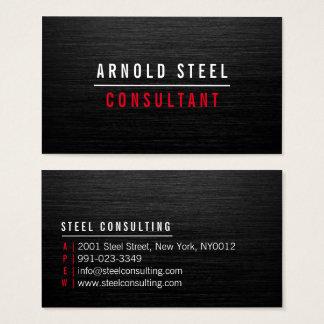 Planície profissional do metal preto moderno cartão de visitas