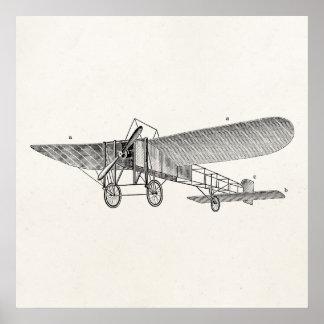 Plano velho retro do suporte do avião da hélice do poster
