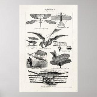 Planos retros dos dirigíveis dos aviões dos aviões poster