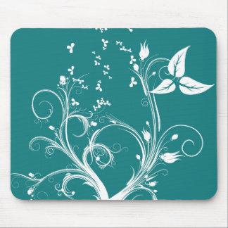 Planta abstrata ciana e do branco mouse pads