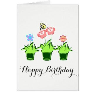 """""""Plantas da flor do feliz aniversario"""" com cartão"""