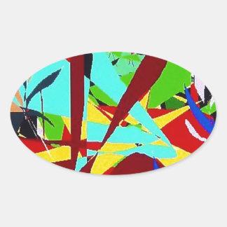Plantas da selva da arte abstracta adesivos em formato oval