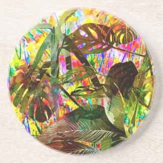 Plantas tropicais e flores porta copos de arenito