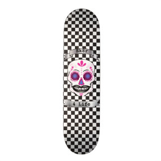 Plataforma cor-de-rosa Checkered do crânio dos Shape De Skate 19,7cm