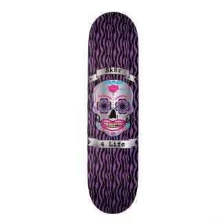 Plataforma cor-de-rosa do crânio dos doces da shape de skate 20,6cm