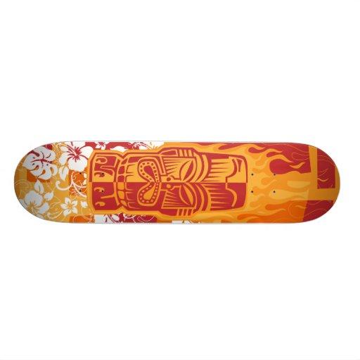 Plataforma de Tiki com chamas Skate