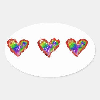 Plissado abstrato dos corações desarrumado do adesivo oval