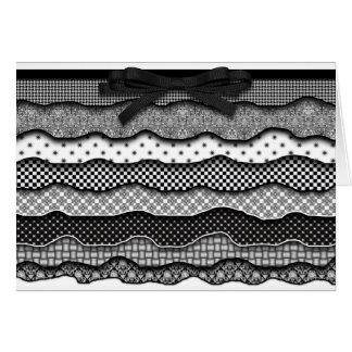 Plissados teste padrão preto/branco, cartão de