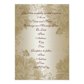 Plumeria do cetim do ouro do convite do casamento