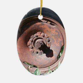 Pneu do trator ornamento de cerâmica oval