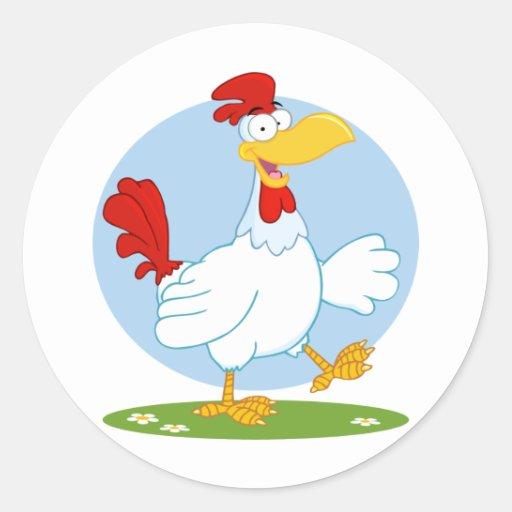 png_white-chicken o ANIMAL de FAZENDA da GALINHA Adesivo Em Formato Redondo