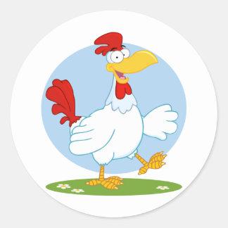 png_white-chicken o ANIMAL de FAZENDA da GALINHA d Adesivo Em Formato Redondo