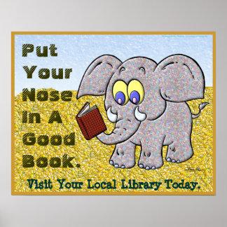 Pnha seu nariz em um bom livro pôsteres
