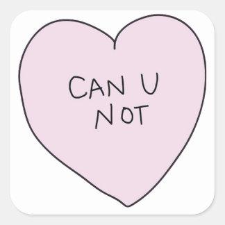Pode o coração de U não Adesivo Quadrado