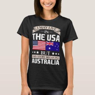 Pode viver na história dos EUA começou na bandeira Camiseta