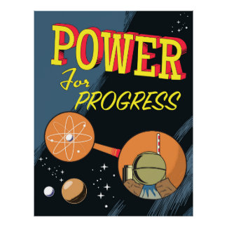 Poder para o poster atômico do vintage do