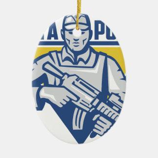 Poder ucraniano da junta do exército ornamento de cerâmica
