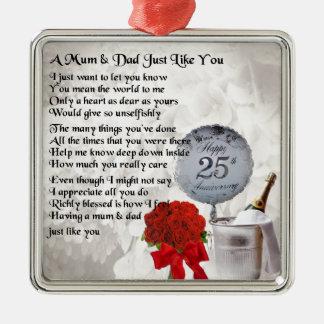 Poema da mãe & do pai - 25o aniversário de ornamento quadrado cor prata