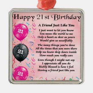 Poema do amigo - aniversário de 21 anos ornamentos para arvore de natal