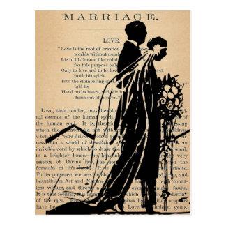 Poema do casamento pela silhueta do noivo da noiva cartão postal