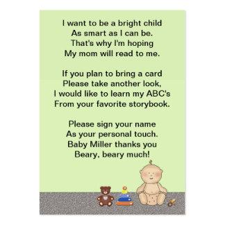 Poema do livro do pequeno da carruagem de bebê cartão de visita grande