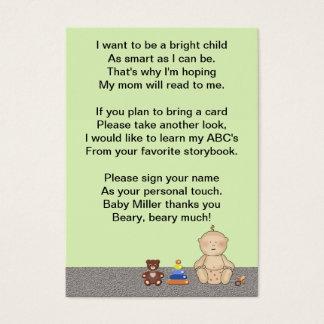 Poema do livro do pequeno da carruagem de bebê cartão de visitas