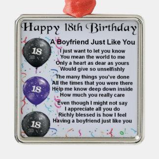 Poema do namorado - 18o aniversário ornamento quadrado cor prata