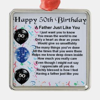 Poema do pai - 50th aniversário ornamento quadrado cor prata