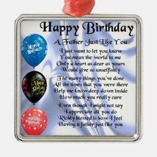 Poema do pai - feliz aniversario ornamento quadrado cor prata
