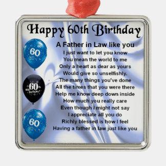 Poema do sogro - 60th aniversário ornamento quadrado cor prata