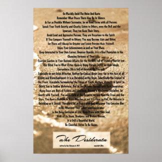 poema dos Desiderata 16x24 com pegadas de Sandy Posters