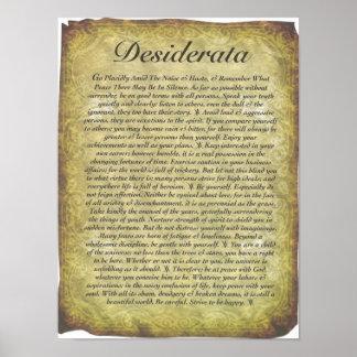 Poema dos Desiderata no papel antigo do estilo Poster