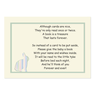 Poema listrado do livro do chá de fraldas do cartão de visita grande