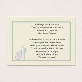 Poema listrado do livro do chá de fraldas do cartão de visitas